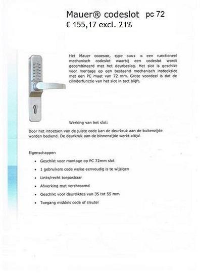 Deurbeslag Met Code.Codeslot Mechanisch Voor Deurbeslag Maat 72mm